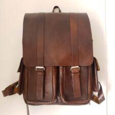 mochila de cuero 4 bolsillos marrones